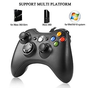 ICOCO USB Wired Xbox One Controller Joysticks Gamepad Ergonomisches Design Schock Vibration für Xbox One PC Microsoft Windows Schwarz
