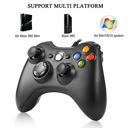 XBOX 360 Control Pad Controller USB Joypad für Microsoft PC Windows Gamepad schwarz