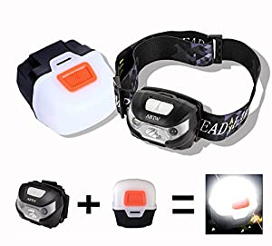 LED lampe frontale, USB Rechargeable Lampe frontale, Orientable,3 Modes et 2 Couleurs, très lumineuse, légère et confortable, parfaite pour la course, la marche, le camping, la lecture, la randonnée, les enfants, le bricolage et bien plus encore