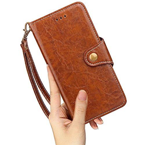 Retro Business Style Premium PU Leder Geldbörse Tasche mit praktischen Card & Cash Slots und Lanyard und Kickstand für iPhone X ( Color : Brown ) Brown