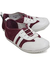 Willy Winkies - Burgundy & White Color Genuine Leather Shoes-106