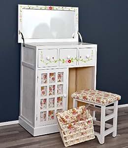 ts ideen table langer style ancien avec miroir tabouret et panier assortis motifs fleuris. Black Bedroom Furniture Sets. Home Design Ideas