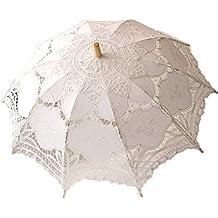 Tasmine blanco boda paraguas de encaje sombrilla Victorian Lady accesorio de disfraz novia partido decoración blanco blanco