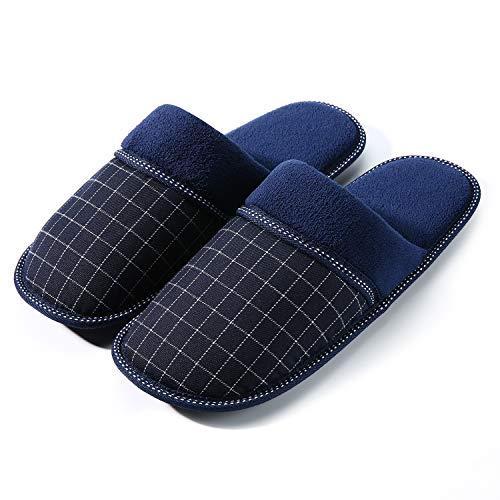 Artyton Zapatillas de Estar por casa para Hombre, Interior Casa Caliente y Slippers para Invierno o otoño.  (46 EU, Azul)