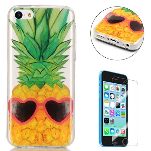 iphone-5c-silicone-gel-case-with-free-screen-protectorcasehome-crystal-clear-shock-proof-soft-durabl