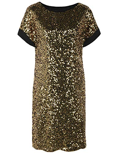 PrettyGuide Damen Pailletten Cocktailkleid Lose Glitter Kurze Ärmel Party Tunika Kleid S Gold
