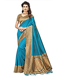 SOFTIEONS E-COMMERCE Women's Art Silk Saree With Blouse Piece (Sarees For Women's Below 500 Srja040)