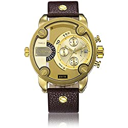 Sheli Gents Bling Gold Plated Large 2 Ttime Zone Brown Leather Wrist Watch for Men,52mm