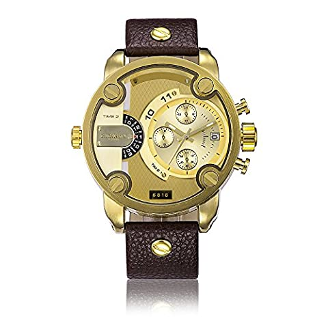 Sheli Gents Bling Gold Plated Large Chronograph Perpetual Brown Leather Wrist Watch for Men,52mm