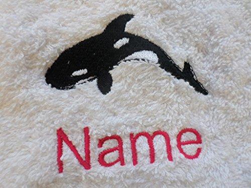 Bademantel für Erwachsene mit einem Orca Logo und Namen Ihrer Wahl in weiß, Größe M, L, XL oder XXL, 100 % Terry-Baumwolle, Weiß, L