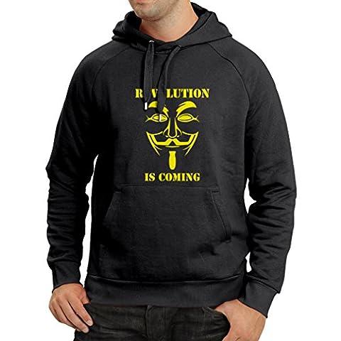 Kapuzenpullover Die Revolution kommt - Die anonyme Hackermaske, V für Vendetta (Medium Schwarz Gelb)