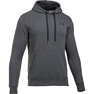 Under Armour Men's Rival Fitted Pull Over Warm-Up Top, Carbon/Heather,Medium