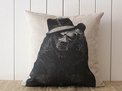 Dekorative Baumwolle Leinen Quadratisch Kissenbezug Überwurf Bär Tragen Sonnenbrille Kissenbezüge 45,7x 45,7cm
