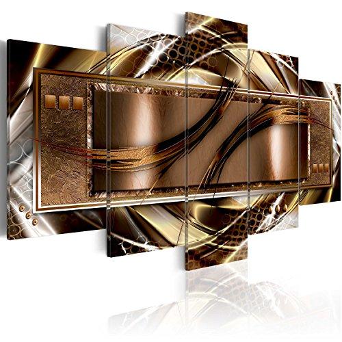 murando - Bilder 200x100 cm Vlies Leinwandbild 5 TLG Kunstdruck modern Wandbilder XXL Wanddekoration Design Wand Bild - Abstrakt braun Gold weiß violett a-A-0025-b-n