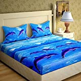DELIGHT ZONE 144 TC 3D Printed Poly Cotton Double Bedsheet with 2 Pillow Covers (Multicolour, 90 x 90 Inch) - Blue Fish