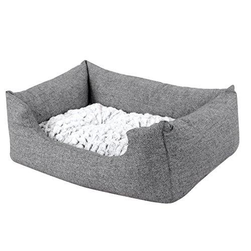 Songmics Tierbett mit Wendekissen, mit unten einen Anti-Rutschboden 60 x 50 x 22 cm PGW22G