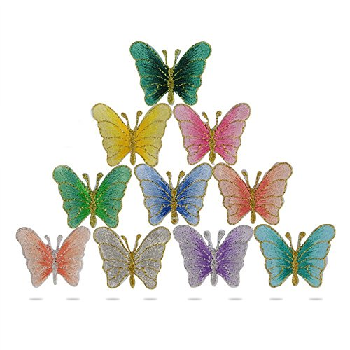 Qumao 10 pz toppe termoadesive applique farfalle per cucito rifiniture abbellimenti badge butterfly embroidery patch sew