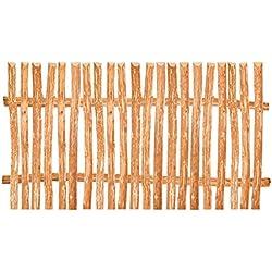 Zaunelement Haselnuss • 90 Größen • 140 x 100 cm (3-4 cm) • Staketenzaun Bausatz für Lattenzaun / Bretterzaun aus Haselnuss inkl. Querriegel, Zaunlatten und Schrauben