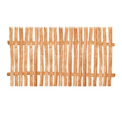Staketenzaun Element Haselnuss in 90 Varianten • Bausatz für Lattenzaun / Bretterzaun aus Haselnuss inkl. Querriegel, Zaunlatten und Schrauben