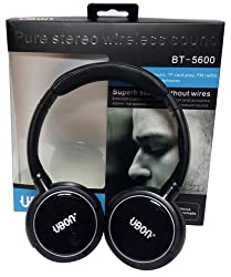 Ubon 5600 Pure stereo wireless bluetooth headphone with mic and call pickup option - Black color