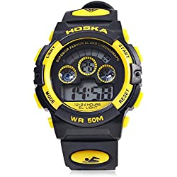 Leopard Shop HOSKA H001B Children Sports Wristwatch LED Digital Watch Day Chronograph Water Resistance Yellow Black
