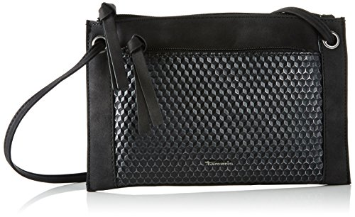 Tamaris Damen Elvira Small Crossbody Bag Umhängetasche, Schwarz (Black Metallic), One Size (Handtasche Metallic Suede)