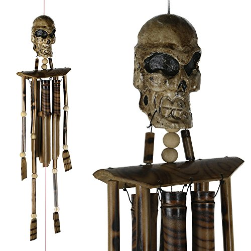 ART-CRAFT WSVO002 Windspiel Mobile Klangspiel Outdoor Indoor Skull - Skelett aus Holz und Bambus