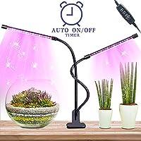Led Pflanzenlampe Grow Led-LED Grow Light Lampe mit Automatische Ein- und Ausschaltzeitfunktion,40 Leds Dual Head Pflanzenlicht Led,360 Grad Verstellbares UV Lampe Pflanzen Wachstumslampe