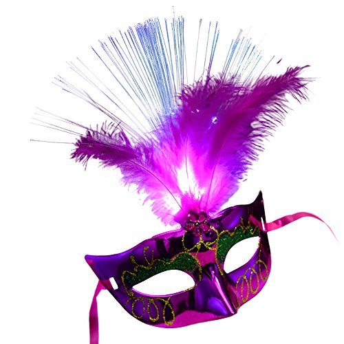 Wokee LED Laser Cut Metall venezianischen Frauen-Maske,Maskerade Kostüm Party Prinzessin Federmasken (Hot)