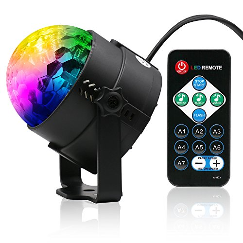 Disco Lichteffekte | Lunaoo LED Discokugel Partylicht Discolicht mit Fernbedienung | 7 Farbe Modus RGB Beleuchtung | DJ Licht Lampe Projektor für Disco, Bar, Party, Halloween, Tanzfläche usw.