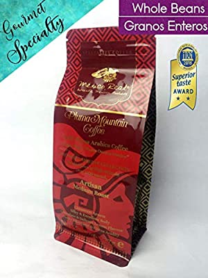 Mexico Real Cafe: Pluma Mountain - Premium Mexican Coffee. Award Winning Specialty Coffee. Artisan Roast Coffee. 100% Gourmet Arabica Coffee. Notes of Sweet Plums and Red Berries. Whole Coffee Beans. Medium Roast. High Grown. Single Origin: Pluma Hidalgo
