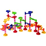 Marble Run Track - STEM Toy - An Educational Building Block Set With 105 Pieces Including Translucent Tubes With 30 Glass Marbles - By Bilzar