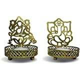 Cubikfeet Creations Ganeshji And Lakshmiji Tealight Candle Holder Set Of 2