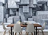 Wemall Estéreo 3D Papel pintado de piedra de ladrillo 3D Mural de pared para paredes Sala de estar Pintura de pared Acuarela Gris Papel de pared de piedra geométrica, 350x245 cm (137.8 por 96.5 in)