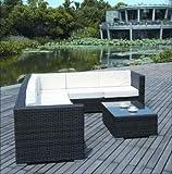Rattan4Life Korsika Rattan Braun/türkis Polyrattan Gartenmoebel Sitzgruppe Lounge Moebel Set Tisch Gartentisch Sessel Sofa Stuhl Kissen Balkon Garten