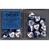 Chessex Dice d10 Sets: Gemini Astral Blue / White with Red - Ten Sided Die (10) by Chessex
