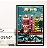 yhnjikl New York Pays-Bas Amsterdam France Vintage Voyage Villes Paysage Affiche Affiches Peinture Art Mur Photos Chambre Décor À La Maison 40X60 Cm sans Cadre