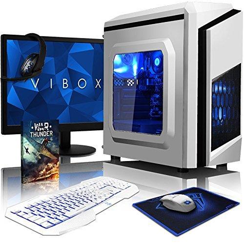VIBOX Pyro SA6-381 Pack PC Gamer - 4,1GHz APU Dual Core AMD A6, Radeon 8470D Graphiques intégrés, Budget, À Bas Prix, Ordinateur PC de Bureau Gaming paquet de jeux, avec Écran, Éclairage Interne Bleu (3,9GHz (4,1GHz Turbo) Processeur APU/CPU Dual Core AMD A6-6400K Ultra Rapide, Radeon 8470D Graphiques intégrés, 16 Go Mémoire RAM DDR3 1600MHz Grande Vitesse, Disque Dur Sata III 7200rpm 1 To (1000 Go), PSU 400W 85+, Boîtier Gamer CIT F3 Blanc Bleu, Pas de Système d'Exploitation Windows)