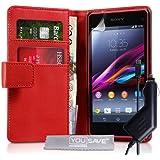 Yousave Accessories funda de piel sintética con cargador de coche para Sony Xperia Z1 Compact - rojo