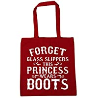 HippoWarehouse Forget glass slippers this princess wears boots Tote Shopping Gym Beach Bag 42cm x38cm, 10 litres