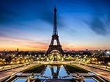 Fototapete Eiffelturm bei Nacht Frankreich 350cm Breit x 260cm Hoch Vlies Tapete Wandtapete - Tapete - Moderne Wanddeko - Wandbilder - Fotogeschenke - Wand Dekoration wandmotiv24
