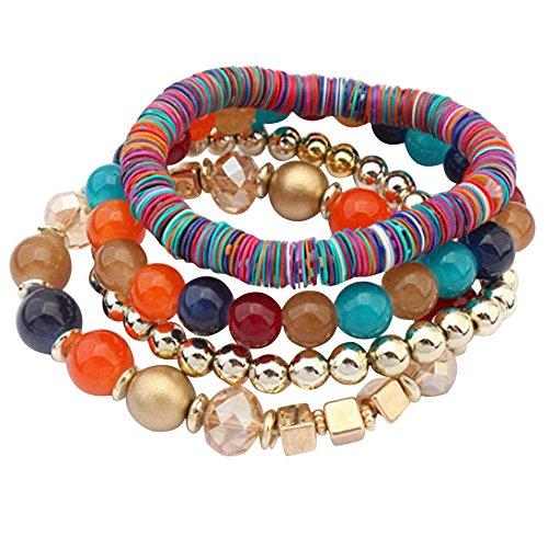 Wokee 4 Pcs Set Tiger Eye Stein Bunte Perlen Multilayer Bangle Handmade Armbänder (Multicolor)