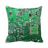 ruichangshichengjie Computer Geek Circuit Board - Green Throw Pillow Case Personalized 18x18 inch Square Cotton Throw Pillow Case Decor Cushion Covers