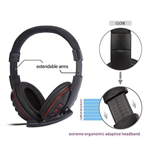 Diswoe Gaming Headset per Xbox One PS4-3.5mm Wired Cuffie da Gioco Stereo  Overhead con Microfono Microfono f49aee0b4957