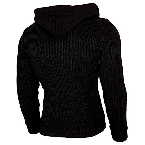Rusty Neal Top Herren Winter Kapuzenpullover Pulli Sweatshirt Jacke RN-13276 Neu Schwarz / Sax