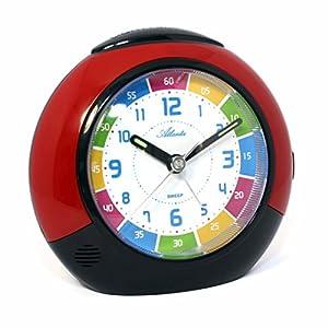 Set: Niños despertador + Despertador de viaje para niña rojo Analog Aprendizaje Despertador Snooze–Atlanta 1678–1RW de Atlanta