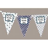 Blu e bianco nautico barca personalizzato per il compleanno Party–Striscione con bandierine, decorazione, Grande - Compleanno Banner Misure