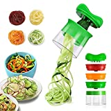 opamoo Spiralschneider, 3-Klingen Gemüse Spiralschneider, Spiralschneider Hand für Gemüsespaghetti, Gemüsehobel Kann Nudeln Fertigen für Karotte, Gurke, Kartoffel, Kürbis, Zucchini