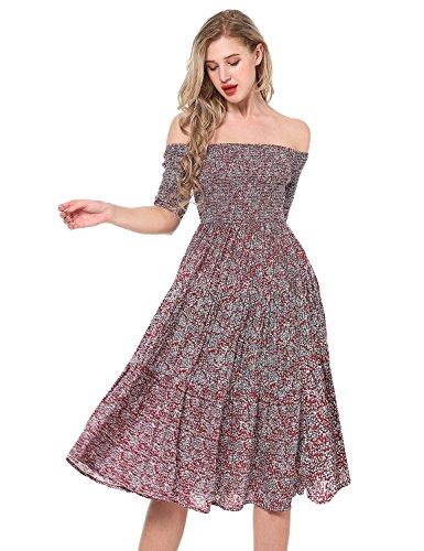 Yidarton Damen Blumen Kleider Kurzarm Sommerkleid Schulterfrei Elastische Taille Kleid Strandkleid Midikleid Partykleider Rot