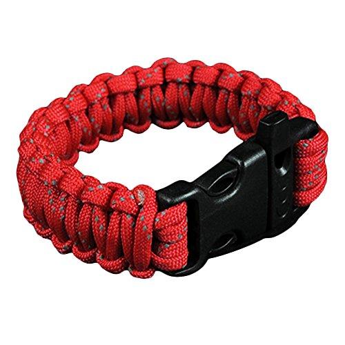 Imagen de kingnew multifuncional paracord supervivencia pulsera fuego starter raspador brújula whistle caso pantalla hebilla para outdoor senderismo camping emergencia rojo